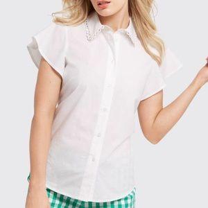 NWT Draper James Flutter Sleeve Button Up Shirt